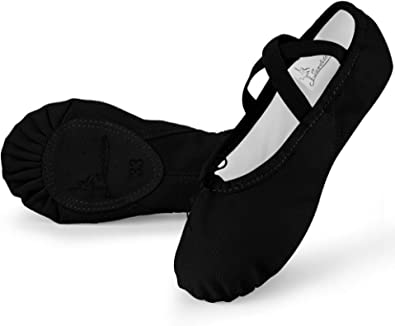 Soudittur Ballet Shoes Girls Dance Slippers Canvas Gymnastic Yoga Shoes Split Sole Canvas Flat for Kids and Adult (Please Choose One Size Smaller)