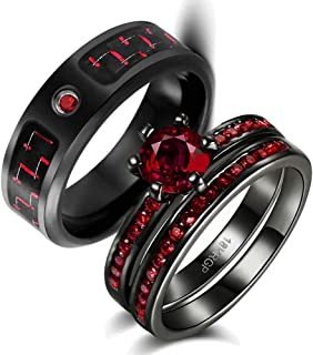 Two Rings His Hers Couples Matching Rings Women's 2pc Black Gold Filled Red CZ Wedding Engagement Ring Bridal Sets Men's Stainless Steel Wedding Band