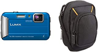 Panasonic LUMIX DMC FT30EG A Outdoor Kamera (16,1 Megapixel, 4X Opt. Zoom, 2,6 Zoll LCD Display, 220 MB interne Speicher, wasserdicht bis 8 m) & Amazon Basics Kameratasche für Kompaktkameras, groß