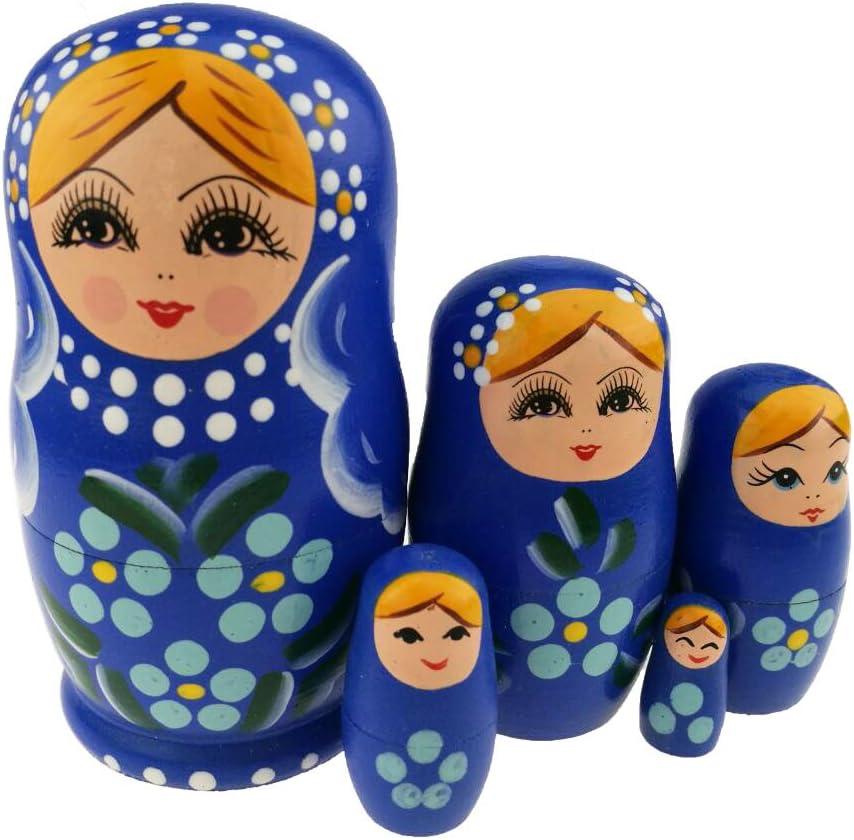 Winterworm Set of 5 Blonde Girl Blue Light Flower Wood Jacksonville Finally resale start Mall Dark