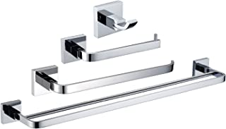 StarFashion 4-Piece Bathroom Accessory Set RUSTPROOF Wall Mount Polished Chrome Towel Bar Hook Toilet Paper Holder Towel Ring Towel Racks Bar Kitchen Towel Stands Double Bars