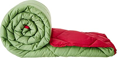 Amazon Brand - Solimo Microfibre Reversible Comforter, Double, Green and Red, 200 GSM
