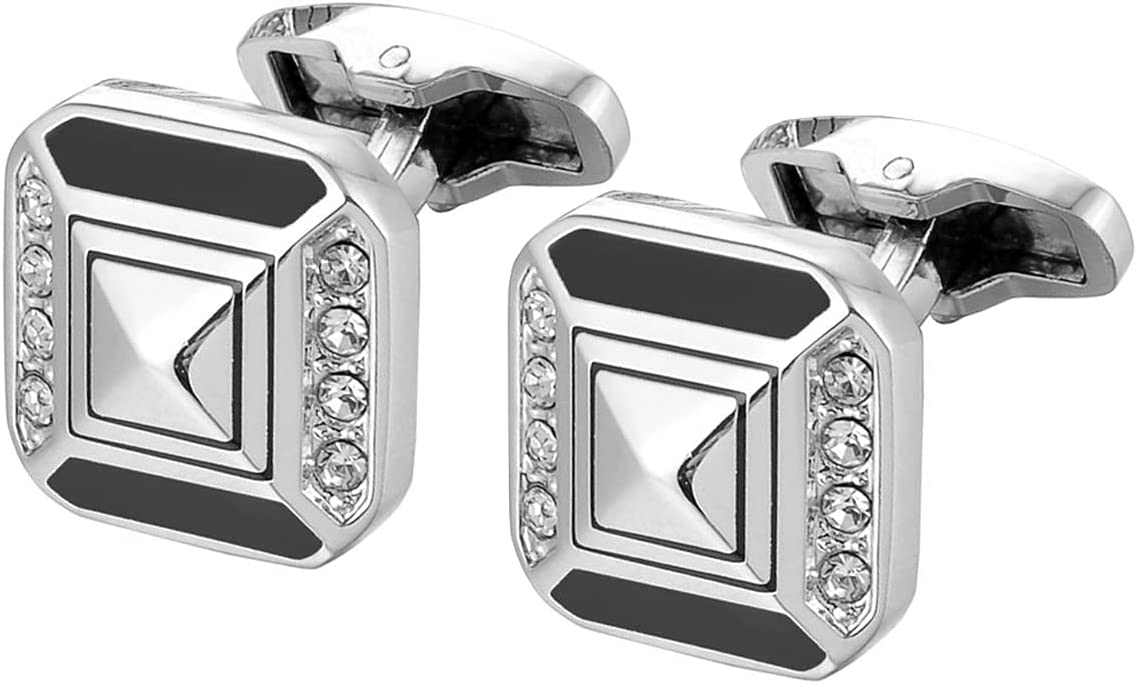 BO LAI DE Mens Cufflinks Diamond Black Enamel Square Cuff Links Shirt Cufflinks Suitable for Wedding Business Luxury Tuxedo Formal Shirts, with Gift Box