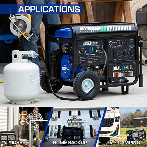 DuroMax XP13000EH Dual Fuel Portable Generator 13000 Watt Gas or Propane Powered Electric Start-Home Back Up, Blue/Gray