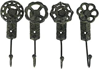 TG,LLC Antique Style Garden Spigot Faucet Handle Wall Mount Hook Set 4 Key Ring Hooks