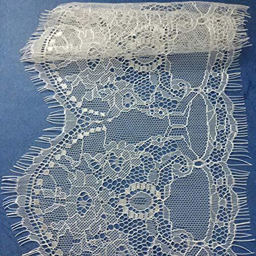 Nieuwe Hot 15 cm Breed 3 yards Voile Geborduurde Lace trim Wit Zwart Glanzende Wimper Stof Kant Naaien Applique Bruiloft Decoratie, WIT