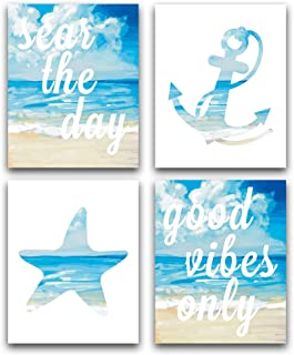 "HPNIUB Ocean Beach Art Print Set of 4 (8""X10""), Good Vibes Only -Seas The Day Inspirational Quote Printing, Anchor Starfish Beach Theme Canvas Print, No Frame"