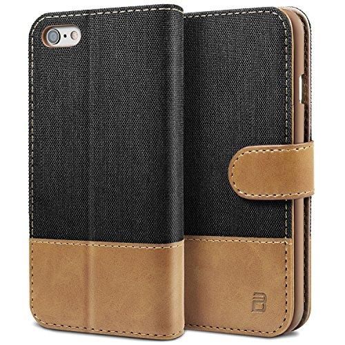 BEZ Hülle für Handyhülle iPhone 6S, iPhone 6S Hülle, Handyhülle Kompatibel für iPhone 6 / 6S, Handytasche Schutzhülle Tasche [Stoff & PU Leder] mit Kreditkartenhaltern - Schwarz