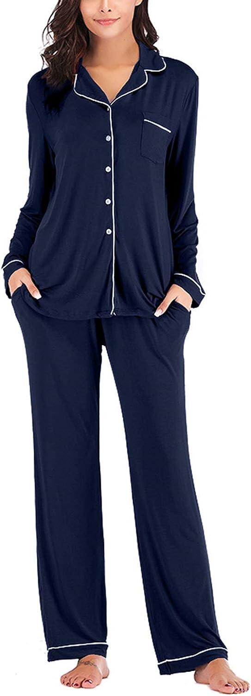 Lu's Chic Women's Long Sleeve Pajama Set 2 PCs Pants Pockets Nightwear Button Down Loungewear