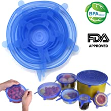 Silicone Stretch Lids, Reusable Durable Bowl Covers BPA Free FDA Approved for Keeping Food Fresh Dishwasher Oven Microwave Freezer Safe, 6-Pack of Various Sizes (Blue)