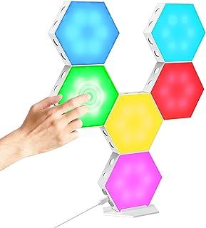 CoMokin Hexagon LED Licht, Berührungsempfindliche RGB Sechseck Lichter, Sechseckige LED Wandleuchten mit USB Strom, Spleiß...