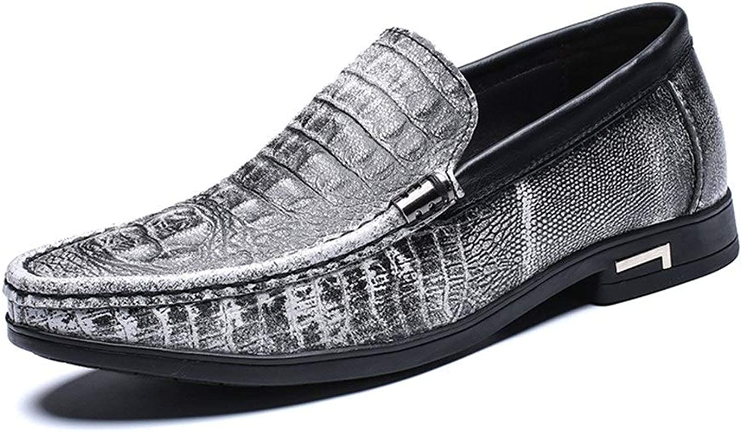 Easy Go Shopping Business shoes For Men Genuine Leather Comfortable Breathable Dress Casual Embossed Loafers Anti-slip Flat Slip-on Round Toe Cricket shoes (color   White, Size   6.5 UK)