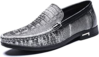 Ranipobo Embossed Shoes for Men Genuine Leather Comfortable Breathable Dress Wedding Fashion Loafers Anti-Slip Flat Slip-on for Men (Color : White, Size : 6.5 UK)