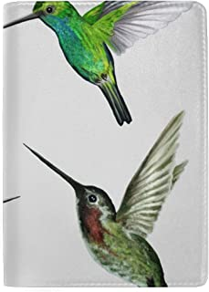 Beautiful Elf Hummingbird Blocking Print Passport Holder Cover Case Travel Luggage Passport Wallet Card Holder Made with Leather for Men Women Kids Family