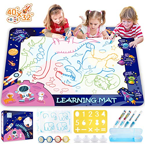 HISTOYE Aqua Magic Water Doodle Mat for Kids Large 40 X 32 Inch Water Drawing Mat for Toddlers Painting Coloring Mat Pad with Pens Learning Educational Toys for 3 4 5 6 7 8+ Year Old Boys Girls Gifts