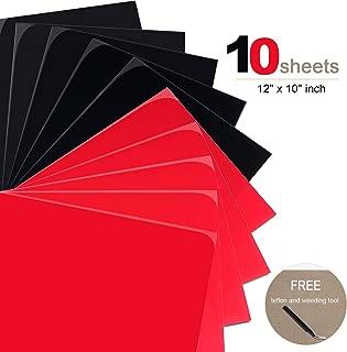 PU Heat Transfer Vinyl Bundle 10 Pack Black and Red 10