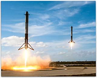 Lone Star Art SpaceX Falcon Heavy Boosters Landing - 11x14 Unframed Print - Great Gift For Space Lovers and Astronomers
