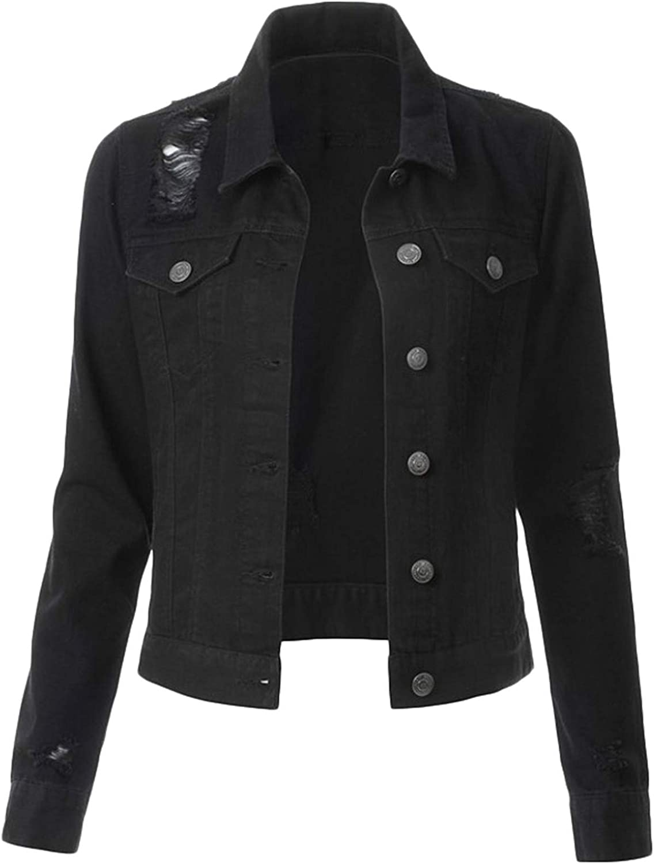 Soluo Women's Casual Long Sleeve Button Down Denim Jacket Classic Stretch Lightweight Vintage Washed Boyfriend Coat (Black,Medium)