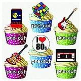 Precutt 1980 - Decoración de cupcakes comestibles para decoración de tartas (24 unidades)