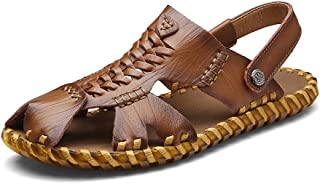SHENLIJUAN Men's Sports Sandals Fisherman Breathable Summer Casual Water Shoes Walking Outdoor Beach Travel Slippers Cowhide Leather Upper Closed Toe Anti-Slip Comfortable