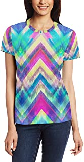 XiangHeFu T-shirt voor vrouwen meisjes regenboog stropdas kleurstof aangepaste korte mouw