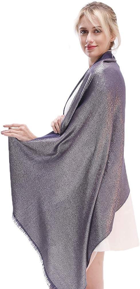 KAVINGKALY Weiche Pashmina-Schals und Wickel für Frauen Schimmernde, einfarbige Schals für Hochzeiten Marine-silber