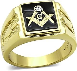 Marimor Jewelry Men's Stainless Steel 14k Gold I.P. Crystal Masonic Lodge Freemason Ring Sz 8-13