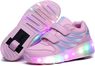 Seunota Children LED Roller Skate Shoes Girls Boys Light Black Pink Kids Shoes Jazzy Junior Sneakers