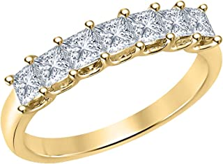1.50ctw Princess Cut Gemstone Seven Stone Half Eternity Wedding Band Ring for Womens 14k Yellow Gold Over Sterling Silver