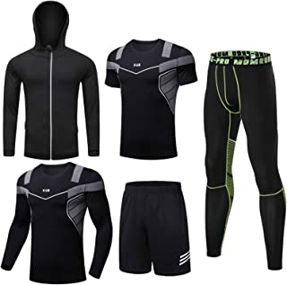 5 Pieces of Men'S Fitness Suits, Sports Quick-Drying Suits, Basketball Tights, Morning Running Summer Gym, Men'S Running T...