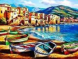 CCJIANI Niño Adulto Principiante Pintura al óleoPaisaje costero Bricolaje Lienzo Digital Pintura al óleo decoración del hogar Regalo de vacaciones-40 x 50 cm (sin Marco)
