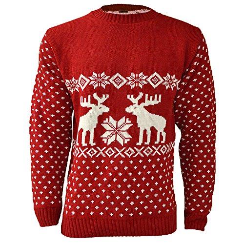 NOROZE Herren Unisex Weihnachten Pullover Reindeer Neuheit Strickpullover