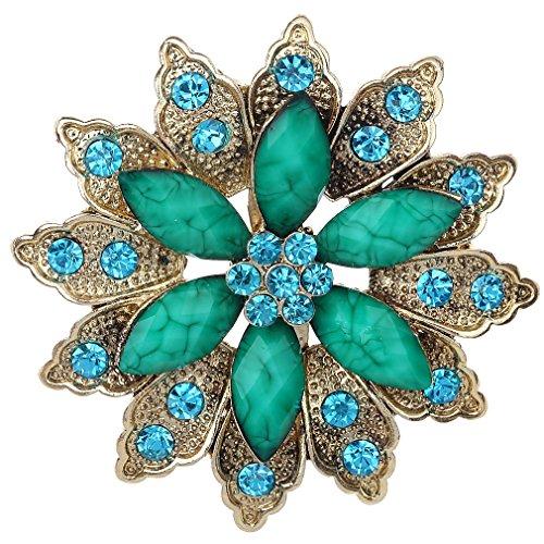 Yazilind Lese Silber Uberzogene Grune Blumen Kristall Korean Brosche Fur Frauen