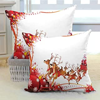 DuckBaby Santa Personalized Pillowcase Abstract Frame with Xmas Balls and Snowflakes Flying Reindeer Carriage Suitable for Hair and Skin Health W18 x L18 inch x 2 Pale Brown Red White