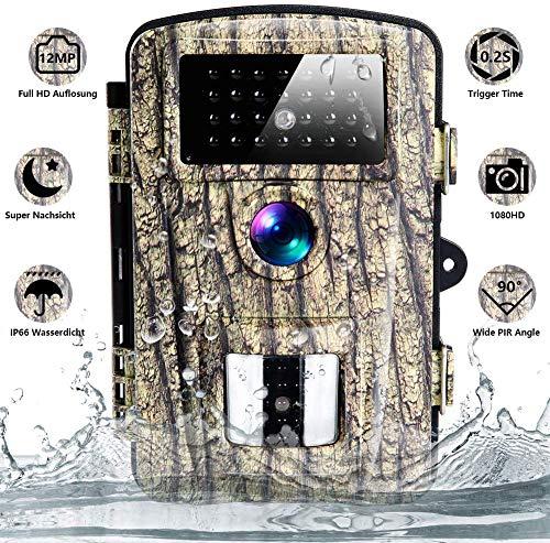 CenZo Wildkamera mit Bewegungsmelder Jagdkamera IP66 12M 1080P Nachtsichtkamera mit Nachtsicht Infrarot 90 °wasserdichte Kamera für Monitor Wildkamera mit Videofunktion