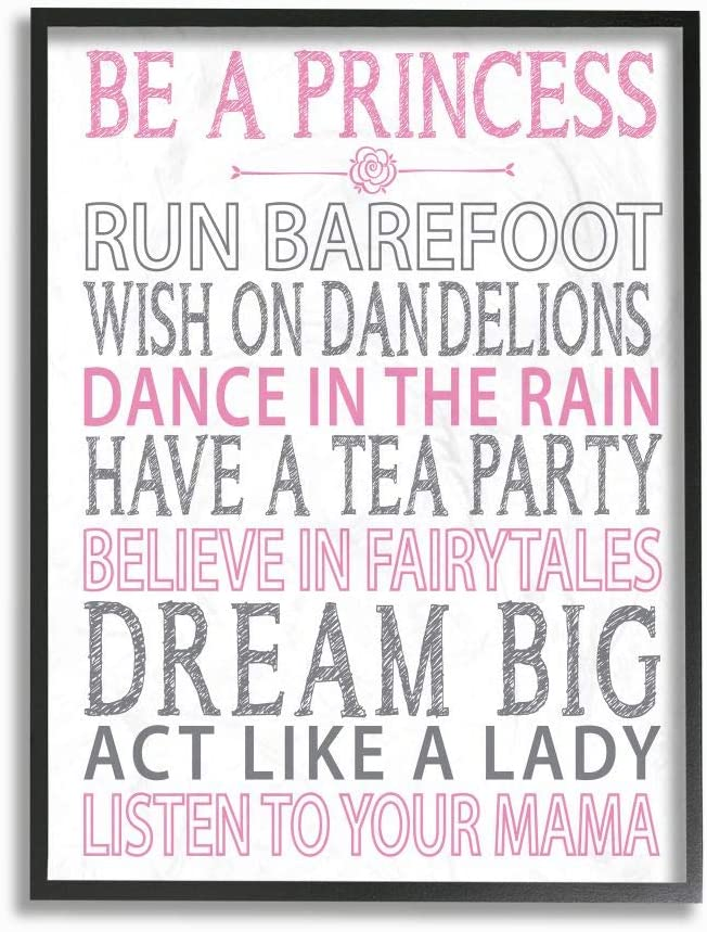 Stupell Industries Be a trend rank Princess Pink Framed Ar Typog Wall Complete Free Shipping Black
