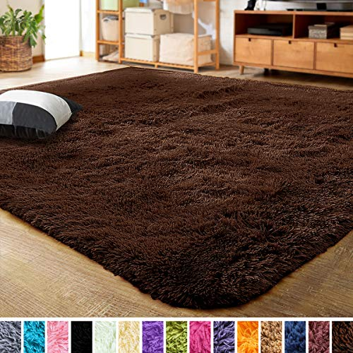 LOCHAS Ultra Soft Indoor Modern Area Rugs Fluffy Living Room Carpets for Children Bedroom Home Decor Nursery Rug 4x5.3 Feet, Brown