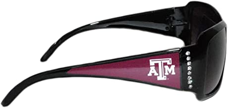 Sports Team Accessories Texas A&M Aggies Black Sunglasses with Logo and Crystal Clear Rhinestones for Ladies