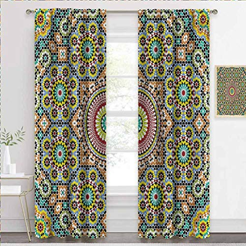 painting-home Draperies & Curtains Moroccan, n Cultural Artwork Thermal Insulated Curtain Block Out Some of The Heat and Add Privacy W55 x L39 Inch