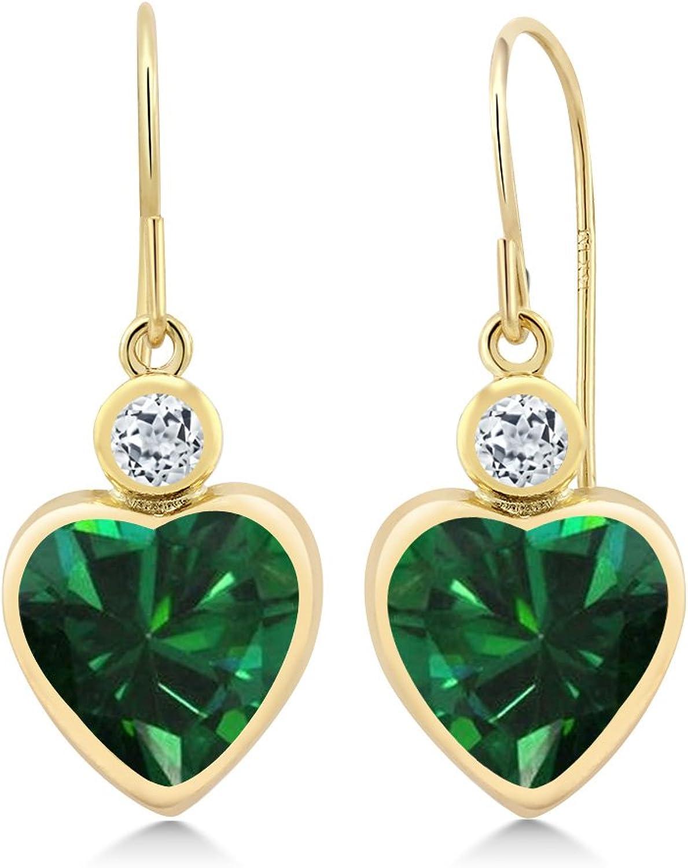 3.54 Ct Heart Shape Green Simulated Emerald White Topaz 14K Yellow gold Earrings
