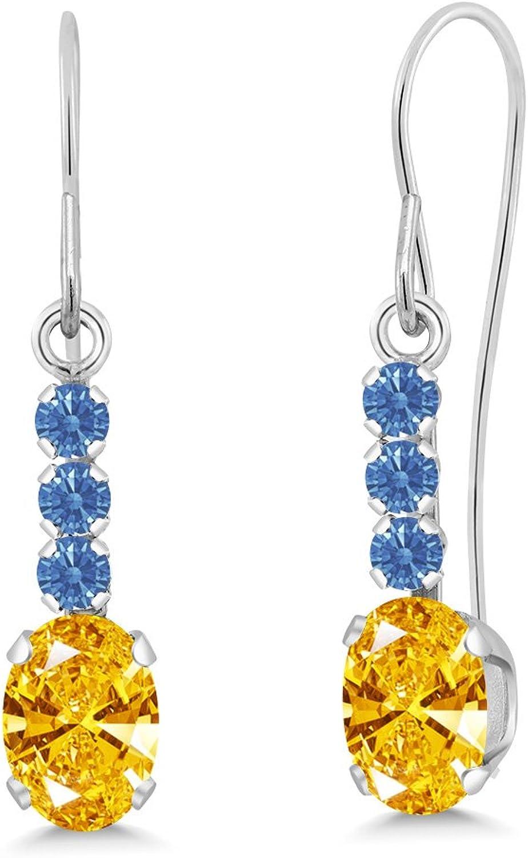 Carlo white golden Yellow 10k White gold Earrings Made With Swarovski Zirconia