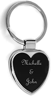 Gifts Infinity Personalized Heart Shape Keychain - Free Laser Engraving (Heart, Black)