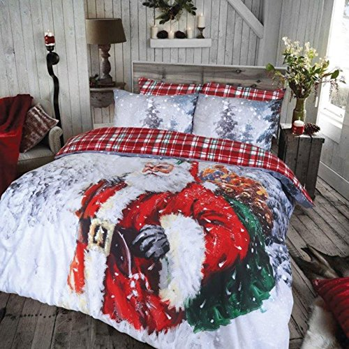 Christmas Kids Xmas Duvet Set Bed Festive Quilt Cover Santa Snowman Elf Bedding[Vintage Father Christmas,Double]