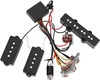 Guitar Bass Pickup,3 Band Active & Passive EQ Equalizer Electric Bass Preamp Circuit Pickup Replacement for Active Bass Pickup Bass Guitar Wiring Harness