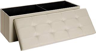 comprar comparacion SONGMICS Banco con Espacio de Almacenamiento, Cofre, Caja de Almacenamiento, Plegable, Carga Estática Máx. 300 kg, 120 L, ...