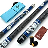 CUESOUL 57 inch 21oz 1/2 Maple Pool Cue Stick Kit- Rock The World Stylish Pattern Cue Design in Blue Paint