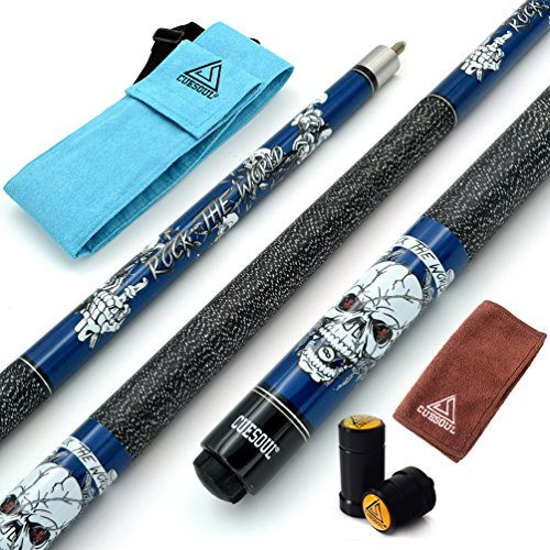 CUESOUL 57 inch 19oz 1/2 Maple Pool Cue Stick Kit- Rock The World Stylish Pattern Cue Design in Blue Paint