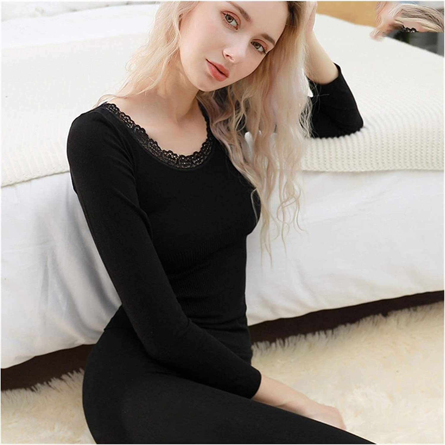 Thermal Underwear Set Woman Winter Clothing Warm Suit Long Sleeve Top Warm Pants Winter Leggings Thermo Underwear (Color : Grey, Size : One Size)