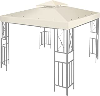 Flexzion 12' x 12' Gazebo Canopy Top Replacement Cover (Ivory) - Dual Tier Up Tent Accessory with Plain Edge Polyester UV30 Protection Water Resistant for Outdoor Patio Backyard Garden Lawn Sun Shade
