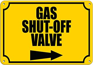 Gas Shut Off Valve With Right Arrow Hazard Sign Emergency LABEL DECAL STICKER Sticks to Any Surface 10x7